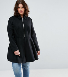 Пальто с клешем от талии ASOS CURVE - Черный