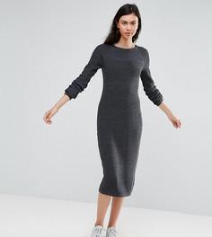 Платье миди крупной вязки со вставками в рубчик ASOS TALL - Серый
