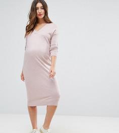 Вязаное платье с добавлением шелка ASOS Maternity - Розовый