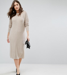 Вязаное платье из супермягкой пряжи ASOS CURVE ECO - Бежевый