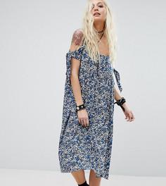Платье миди с вырезами на плечах Reclaimed Vintage Inspired - Синий