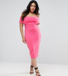 Платье-футляр миди с глубоким вырезом лодочкой ASOS CURVE - Розовый