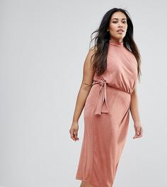 Облегающее платье миди с высоким воротом и поясом сбоку ASOS CURVE - Розовый