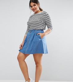 Короткая джинсовая расклешенная юбка на пуговицах ASOS CURVE - Синий