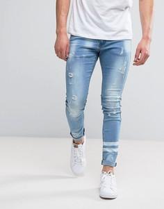 Синие выбеленные джинсы скинни с двумя полосами Liquor N Poker - Синий