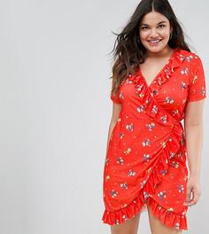 Платье с запахом и цветочным принтом ASOS CURVE - Мульти