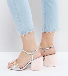 Туфли на каблуке с мехом для широкой стопы ASOS HOT GOSSIP - Мульти