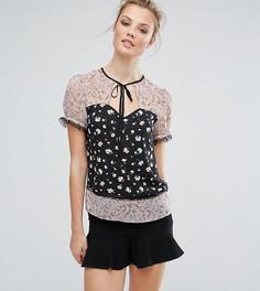 Блузка с комбинированным принтом и кружевной отделкой Fashion Union Tall - Мульти