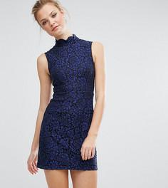 Короткое приталенное платье из кружева Fashion Union Tall - Темно-синий