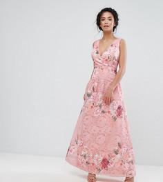 Кружевное платье для выпускного с запахом и цветочным принтом Little Mistress Petite - Мульти