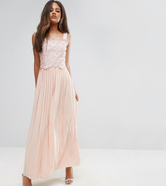 Премиум-платье макси с кружевным топом и плиссированной юбкой Little Mistress Tall - Розовый
