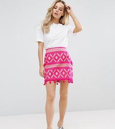 Жаккардовая мини-юбка с помпонами ASOS PETITE - Розовый