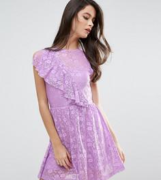 Кружевное короткое приталенное платье с оборкой ASOS PETITE - Мульти