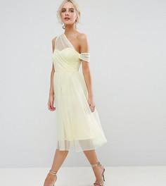 Сетчатое платье для выпускного на одно плечо из ткани добби ASOS PETITE - Желтый