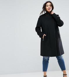 Строгое пальто узкого кроя с воротником-стойкой ASOS CURVE - Черный