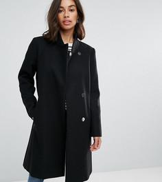 Приталенное пальто с воротником-стойкой ASOS PETITE - Черный