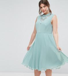 Платье миди без рукавов с кружевной вставкой ASOS CURVE - Зеленый