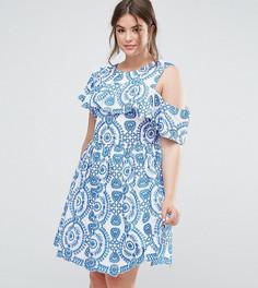Короткое приталенное платье без рукавов с вышивкой, оборками и открытой спиной ASOS CURVE PREMIUM - Мульти