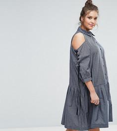 Платье-рубашка с заниженной талией и лентами на рукавах ASOS CURVE - Мульти