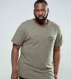 Меланжевая футболка с необработанным краем и карманом Another Influence PLUS - Зеленый