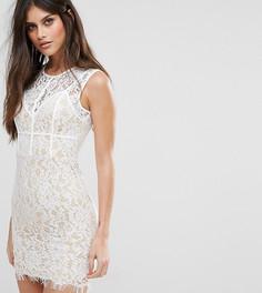 Кружевное платье мини с мелкой бахромой по краю и кантом NaaNaa - Белый