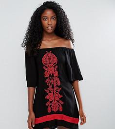 Пляжное платье с открытыми плечами и вышивкой Akasa - Черный