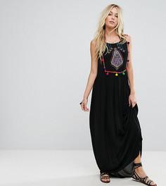Пляжное платье макси с вышивкой Akasa - Черный