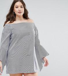 Платье в полоску с вырезом лодочкой и оборками на рукавах Missguided Plus - Синий