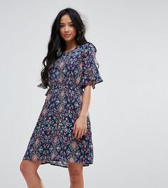 Платье с принтом и оборками на рукавах Yumi Petite - Темно-синий