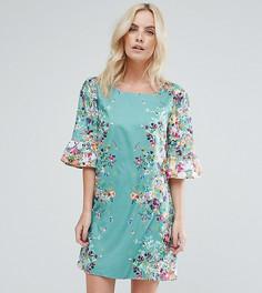 Свободное платье с цветочным принтом и оборками на рукавах Yumi Petite - Зеленый
