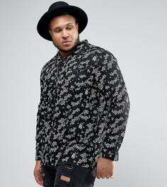 Рубашка классического кроя из вискозы с цветочным принтом ASOS PLUS - Черный