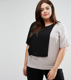 Трикотажная футболка в стиле колор блок Junarose - Мульти