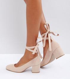 Туфли для широкой стопы на среднем каблуке с завязкой вокруг щиколотки London Rebel - Бежевый