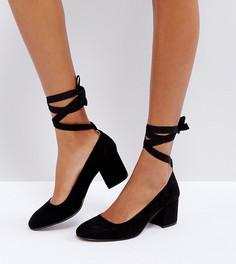 Туфли для широкой стопы на среднем каблуке с завязкой вокруг щиколотки London Rebel - Черный