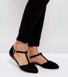 Туфли на плоской подошве для широкой стопы с Т-образным ремешком London Rebel - Черный