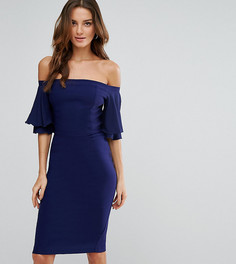 Платье-футляр с оборками на рукавах и открытыми плечами Vesper - Темно-синий