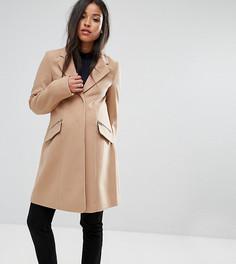 Зауженное пальто бойфренда с карманом на молнии ASOS MATERNITY - Светло-серый