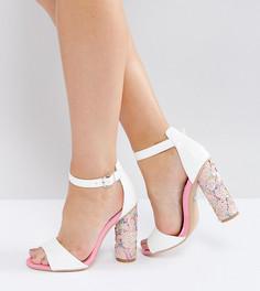Розовые босоножки на каблуке с пайетками для широкой стопы Lost Ink - Мульти