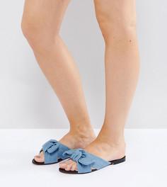 Джинсовые сандалии для широкой стопы с бантом Lost Ink - Синий