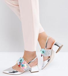 Туфли на каблуке для широкой стопы с отделкой ASOS SPACESHIP - Серебряный