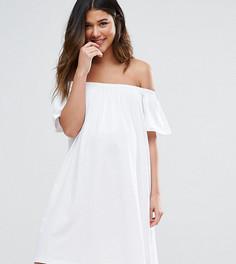 Платье мини для беременных с открытыми плечами ASOS Maternity - Белый