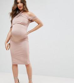 Платье миди с рюшами и перекрученным воротом ASOS Maternity - Розовый