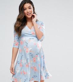 Платье с запахом и голубым принтом для кормящих мам ASOS Maternity - Мульти