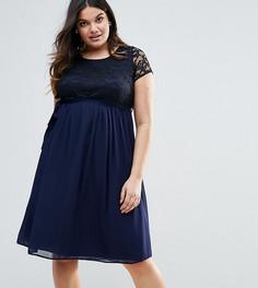 Платье с кружевным топом Lovedrobe Plus - Темно-синий