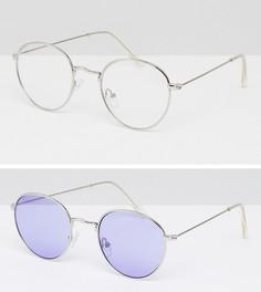 Набор из 2 пар круглых солнцезащитных очков в стиле 90-х (сиреневые/ прозрачные стекла) ASOS - Мульти