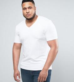 Белая обтягивающая футболка с V-образным вырезом ASOS PLUS - Белый