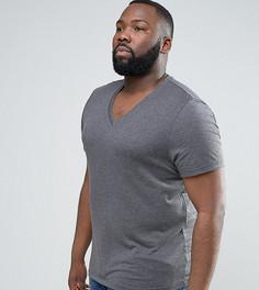 Темно-серая футболка с V-образным вырезом ASOS PLUS - Серый