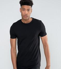 Черная обтягивающая футболка с круглым вырезом ASOS TALL - Черный