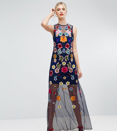 Сетчатое платье макси с вышивкой ASOS TALL - Мульти