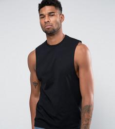 Черная футболка без рукавов с углубленной проймой ASOS TALL - Черный